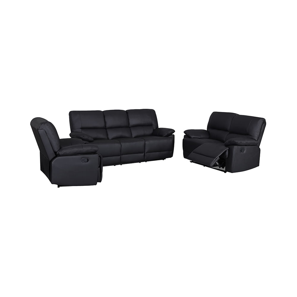 Juego de Sofá reclinable ZHOE Cuero 3 puestos color Negro ...
