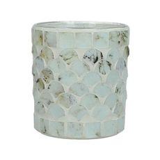 960ba07ae25 Porta vela de vidrio color blanco