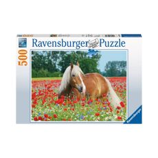 Puzzle-Caballo-en-el-Campo-de-Amapolas-500pz-14831-Ravensburger-1-15606