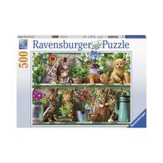 Puzzle-Gatos-en-el-Estante-500pz-14824-Ravensburger-1-15609